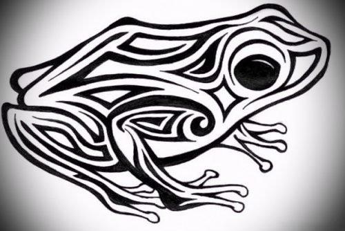 Татуировка Черная лягушка