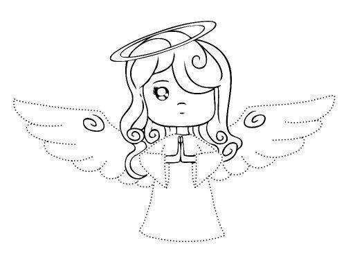 Рисуем ангелочков на Рождество