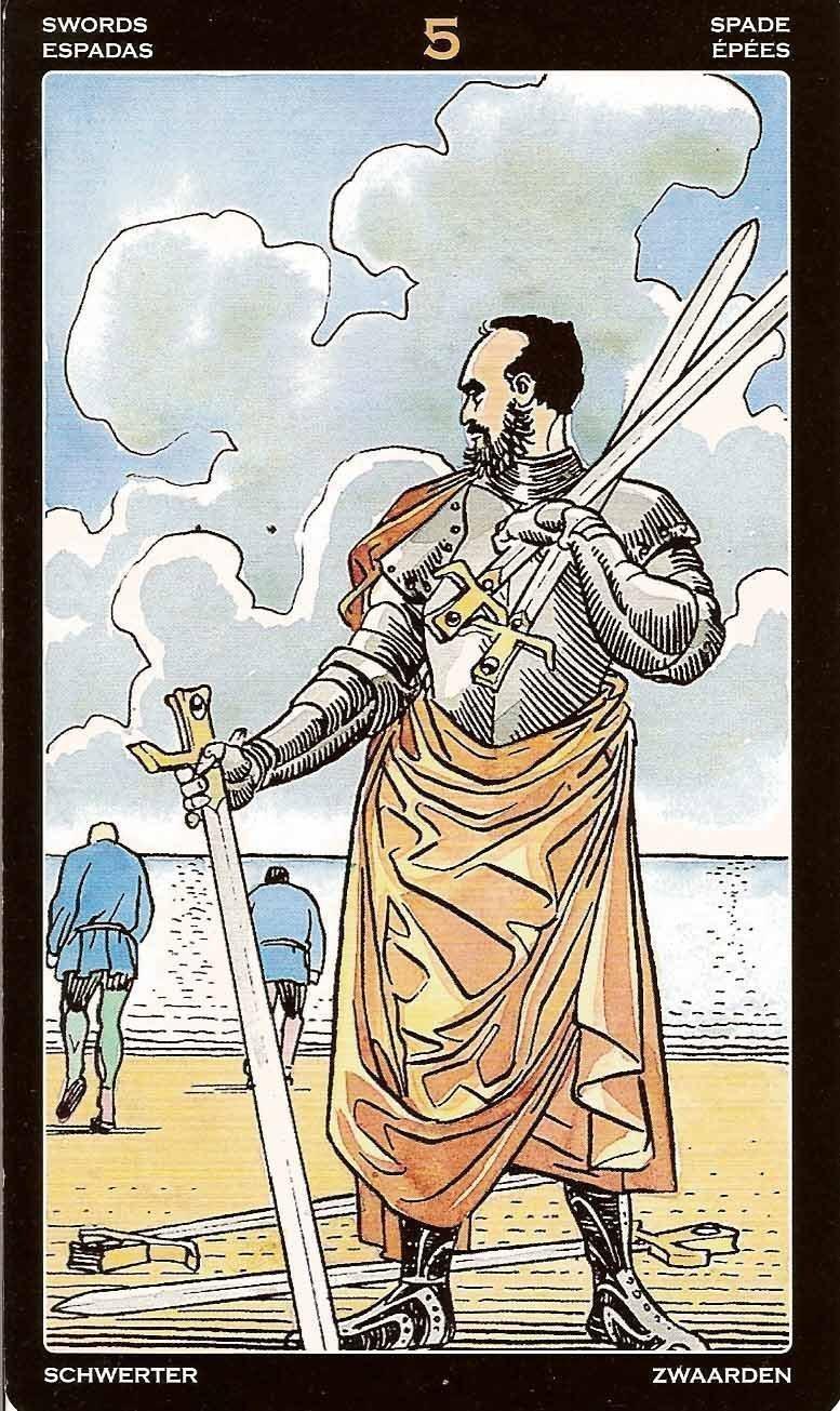 Пятерка Мечей - толкование и значение карты Таро