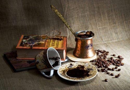 Кофе, кофейная гуща, чашка, турка